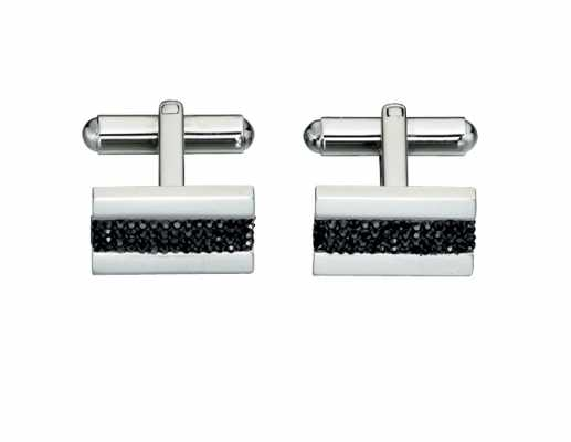 Fred Bennett Stainless Steel Jet Pave Cuffling V414