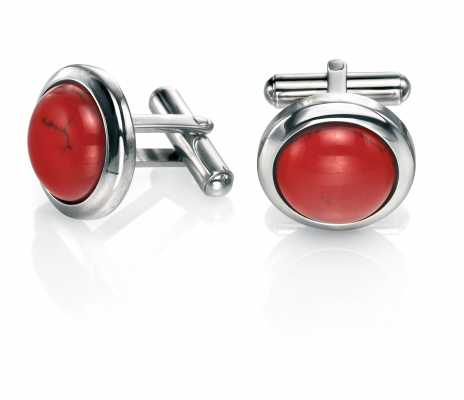 Fred Bennett Stainless Steel And Red Dyed Howlite Cufflinks V471