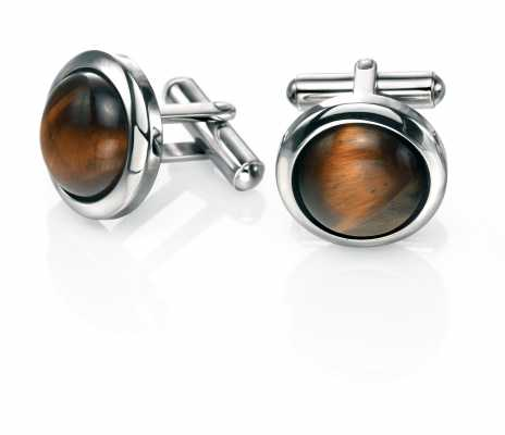 Fred Bennett Stainless Steel And Tigerseye Cufflinks V472