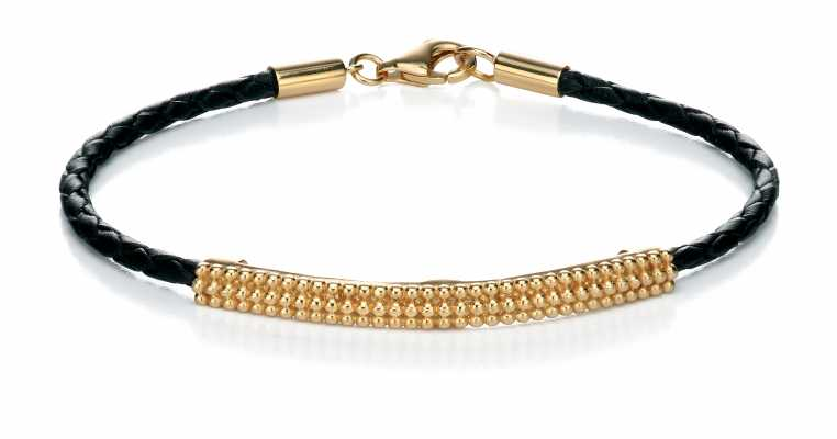 Fiorelli Yellow Gold Plate ID Leather Bracelet B4386