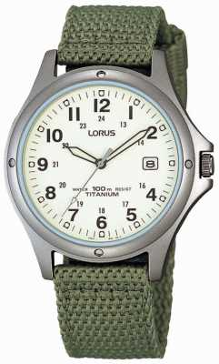 Lorus Mens Analogue Green Canvas Strap Watch RXD425L8
