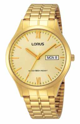 Lorus Mens All Gold Watch With Day And Date RXN04DX9
