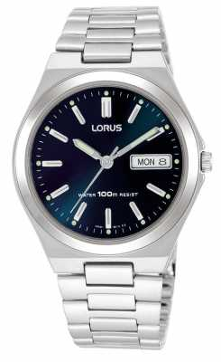 Lorus Mens Dark Blue Dial Day Date Watch RXN17BX9