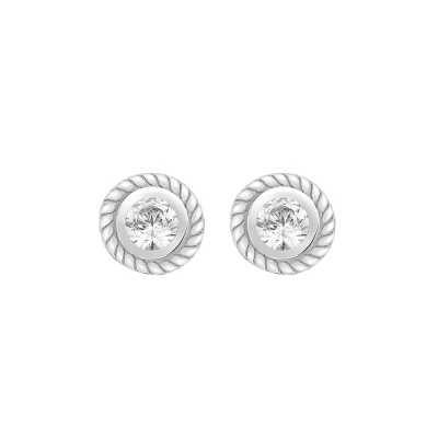 Perfection Diamond 9ct White Gold Single Stone Rubover Ornate Stud Earrings (0.05ct J I1)  E2144-JI1-9CT