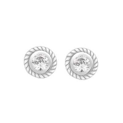 Perfection Diamond Platinum Single Stone Rubover Ornate Stud Earrings (0.20ct J I1)  E2145-JI1-PLT