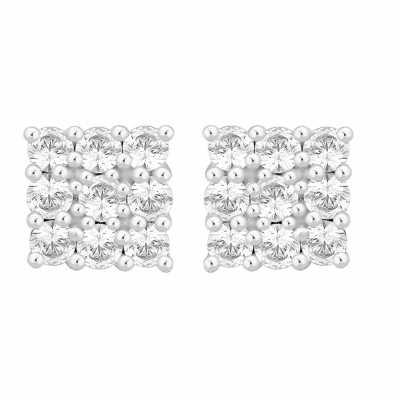 Perfection Diamond Platinum Square Shaped Cluster Stud Earrings (1.00ct G/H SI)  E2189-GHSI-PLT