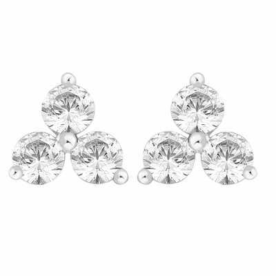 Perfection Diamond Platinum Triangular Trilogy Stud Earrings (1.50ct G/H SI)  E2358-GHSI-PLT