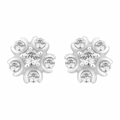 Perfection Diamond 18ct White Gold Six Stone Cluster Stud Earrings (0.25ct G/H SI)  E2484-GHSI-18CT