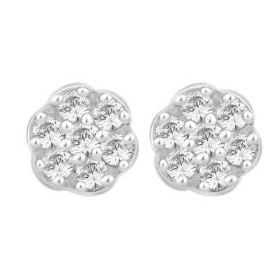 Perfection Diamond Platinum Seven Stone Round Cluster Stud Earrings (1.00ct G/H SI)  E2486-GHSI-PLT