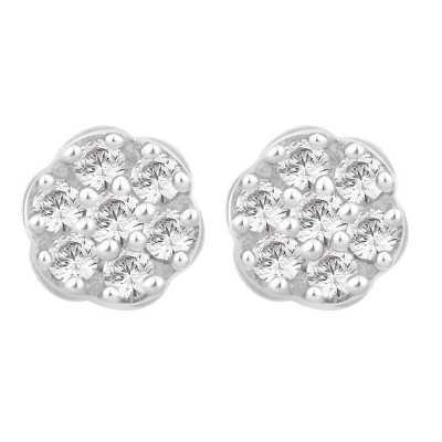 Perfection Diamond 9ct White Gold Seven Stone Round Cluster Stud Earrings (0.75ct J I1)  E2488-JI1-9CT