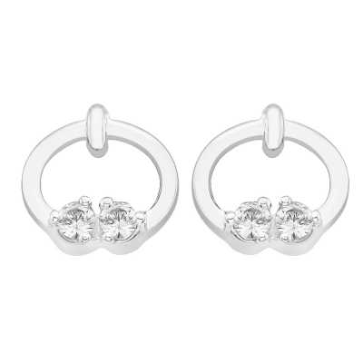 Perfection Swarovski Two Stone Ring Stud Earrings (0.10ct) E2722-SK