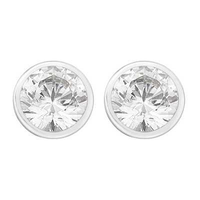 Perfection Swarovski Single Stone Rubover Set Stud Earrings (1.00ct) E3126-SK