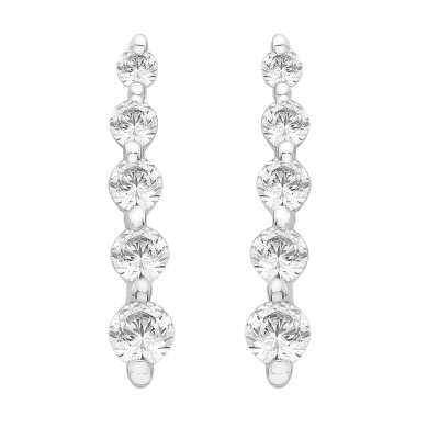 Perfection Diamond Platinum Graduating Five Stone Line Stud Earrings (0.30ct G/H SI)  E3183-GHSI-PLT