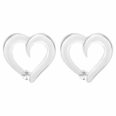 Perfection Diamond 18ct White Gold Heart Stud Earrings With A Single Stone (0.10ct G/H SI)  E3187-GHSI-18CT