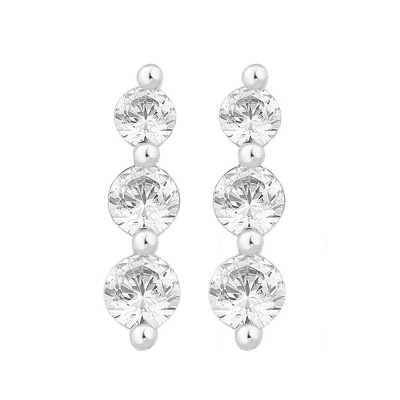 Perfection Diamond Platinum Graduating Claw Set Trilogy Stud Earrings (0.50ct J I1)  E3426-JI1-PLT