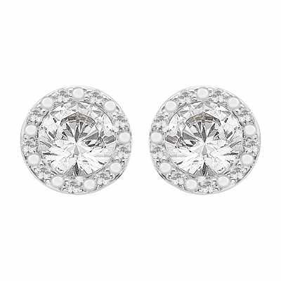 Perfection Diamond 9ct White Gold Stud Earrings With Pavé Surround (0.80ct J I1) E3855-JI1-9CT