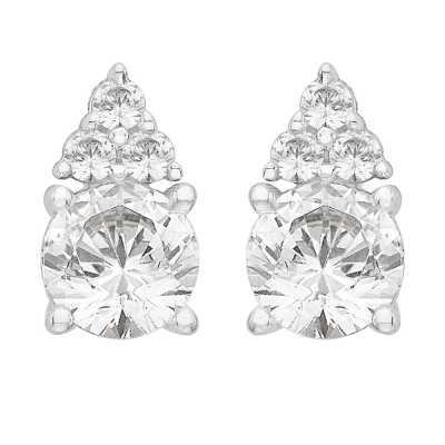 Perfection Diamond Platinum Single Stone Stud Earrings With Trilogy part (1.10ct J I1)  E3882-JI1-PLT