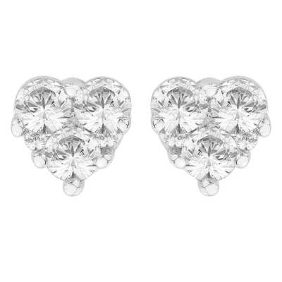 Perfection Diamond 9ct White Gold Heart Shaped Trilogy Stud Earrings (0.40ct G/H SI)  E3886-GHSI-9CT