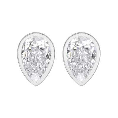 Perfection Swarovski Single Stone Rubover Pear Stud Earrings (0.65ct) E3929-SK