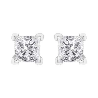 Perfection Swarovski Single Stone Princess Claw Set Stud Earrings (1.80ct) E3932-SK