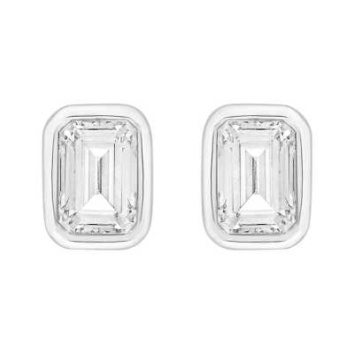 Perfection Swarovski Single Stone Rubover Emerald Stud Earrings (1.00ct) E4045-SK