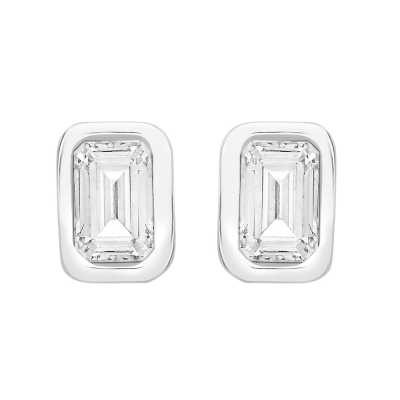 Perfection Swarovski Single Stone Rubover Emerald Stud Earrings (0.50ct) E4053-SK