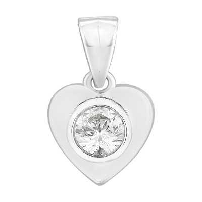 Perfection Diamond 9ct White Gold Single Stone Rubover Heart Pendant (0.25ct G/H SI)  P3062-GHSI-9CT