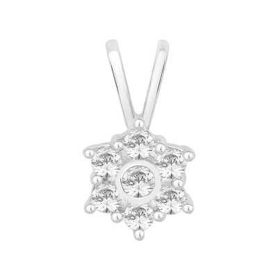 Perfection Diamond 9ct White Gold Seven Stone Flower Cluster Pendant (0.40ct J I1)  P3555-JI1-9CT