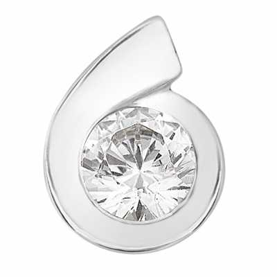 Perfection Swarovski Single Stone Rubover Twirl Pendant (0.25ct) P3792-SK