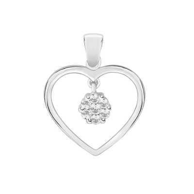 Perfection Diamond Platinum Heart Pendant With Swinging Cluster (0.25ct G/H SI)  P4122-GHSI-PLT