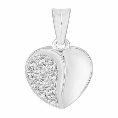 Perfection Diamond 18ct White Gold Part Pavé Set Heart Pendant (0.10ct G/H SI) P4303-GHSI-18CT