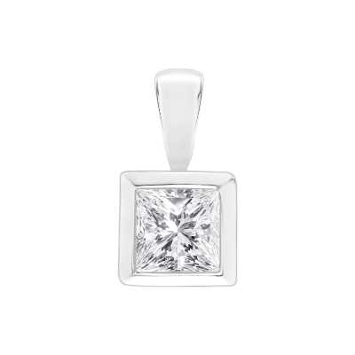 Perfection Swarovski Single Stone Rubover Princess Cut Pendant (0.45ct) P5513-SK