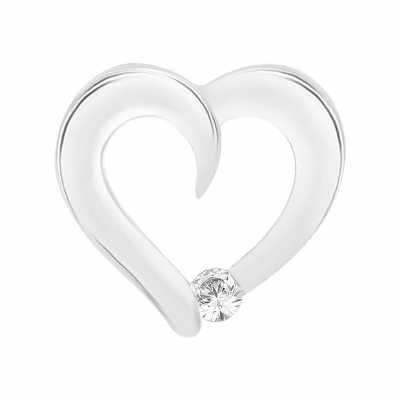 Perfection Swarovski Heart Pendant With A Single Stone (0.10ct) P5519-SK