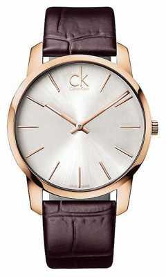 Calvin Klein Mens Silver Dial Rose Gold Case K2G21629
