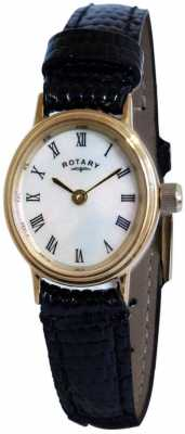 Rotary Womens White Dial Black Leather Strap Watch LSI00471/07