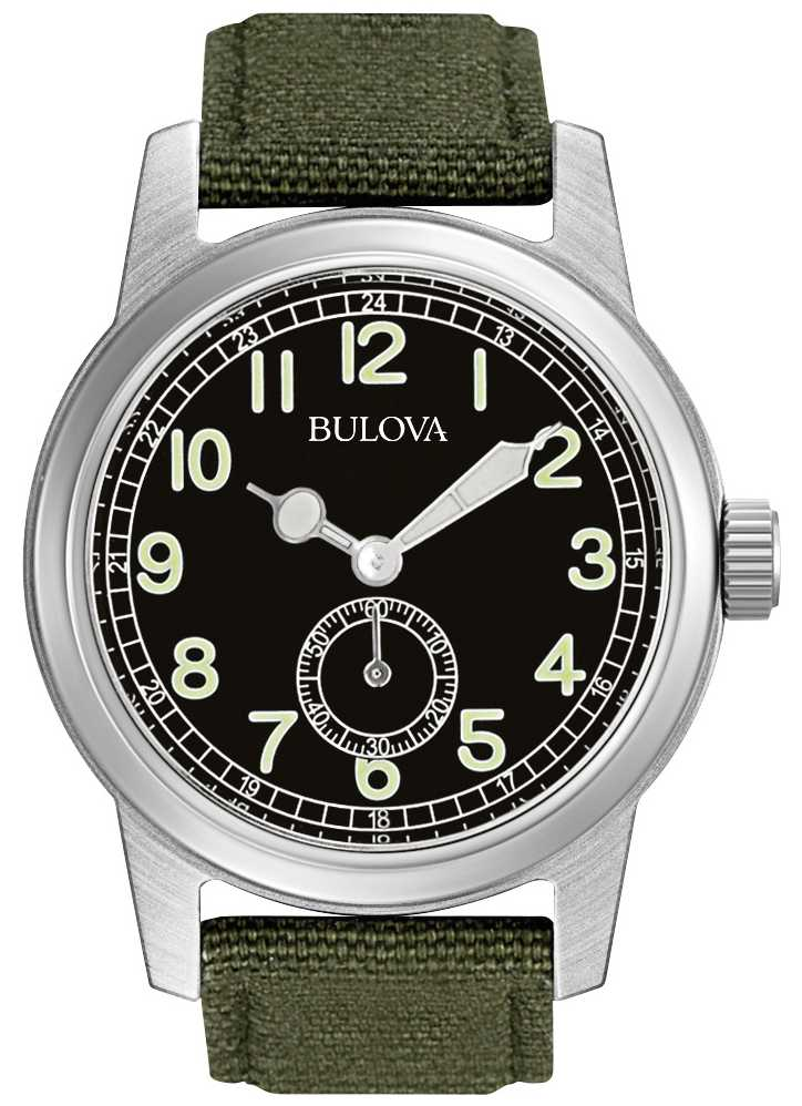 bulova mens military watch 96a102 first class watches roll over image to zoom in click to view expanded bulova watches