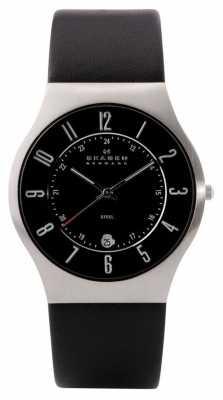 Skagen Mens Steel Leather Strap Watch 233XXLSLB