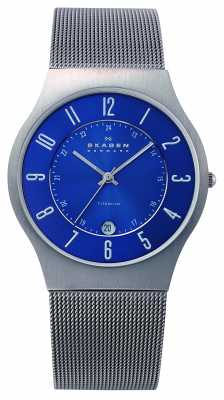 Skagen Mens Blue Dial Titanium Case Mesh Strap Watch 233XLTTN