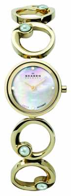 Skagen Black Label Womens' Gold Tone Mother of Pearl Dial Watch 889SGXG
