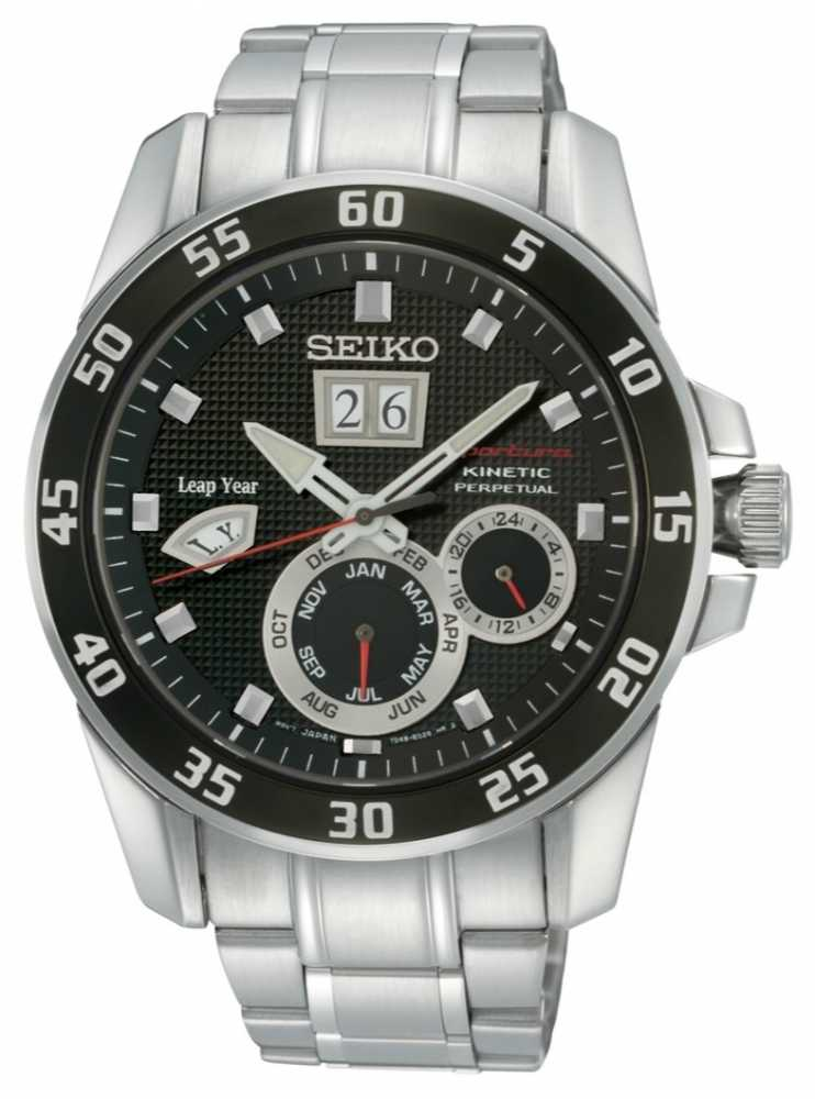 Seiko mens sportura perpetual kinetic watch snp055p1 for Movado kinetic