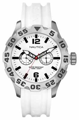Nautica Mens BFD Stainless Steel White Dial & Rubber Strap A16603G