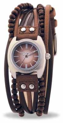 Kahuna Womens' Multi Band Leather Strap Brown AKLS-0083L