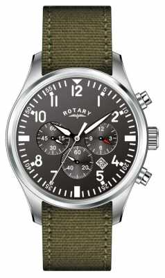 Rotary Gent's Chronograph Canvas Strap Watch GS02680/19