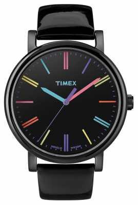 Timex Unisex Easy Reader Black Leather Strap Watch T2N790