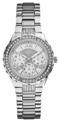 Guess Womens' Viva Multidial Silver Tone Sports Watch W0111L1