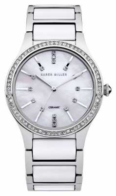 Karen Millen Womens' Mother Of Pearl Dial Crystal-Set White Ceramic/ Steel KM122SM
