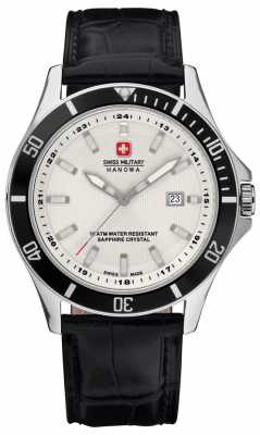 Swiss Military Hanowa Mens Flagship White Dial Black Bezel & Leather Strap 6-4161.2.04.001.07