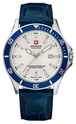 Swiss Military Hanowa Mens Flagship White Dial Blue Bezel & Leather Strap 6-4161.2.04.001.03