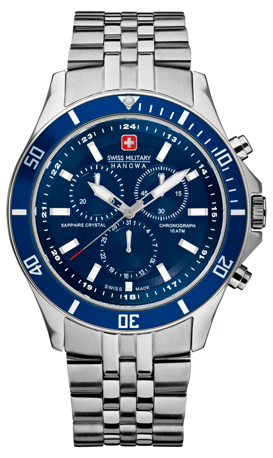 swiss military hanowa watches official uk retailer first class swiss military hanowa mens flagship blue dial stainless steel chronograph 6 5183 7 04 003