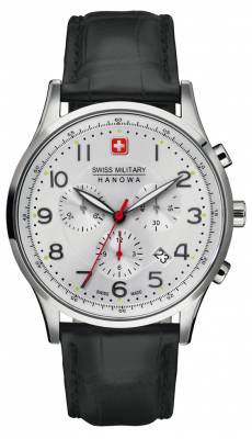 Swiss Military Hanowa Mens Silver Dial Stainless Steel Leather Patriot Chronograph 6-4187.04.001
